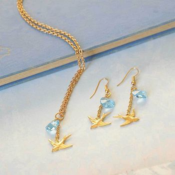 Swallow And Swarovski Heart Jewellery Set