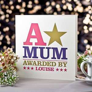 Personalised 'A-Star Award' Mother's Day Card - winter sale