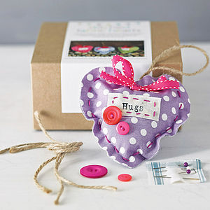 Stitched Fabric Hearts Kit - toys & games