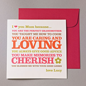 'I Love You Mum Because…' Card - mother's day cards