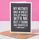 'Motherly Love' Funny Mother's Day Card