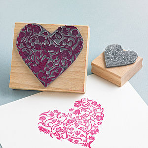 Flowery Heart Rubber Stamp - diy stationery