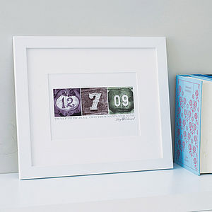 Personalised Date Art Print - 50th birthday gifts