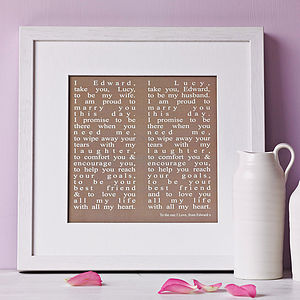 Personalised Wedding Vows Print - anniversary gifts
