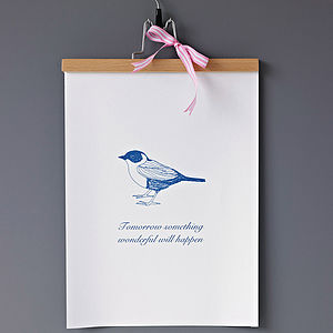 'Something Wonderful Will Happen' Print - something blue