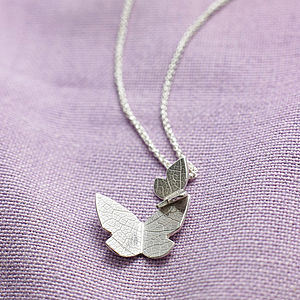 Double Butterfly Silver Necklace - gifts from younger children