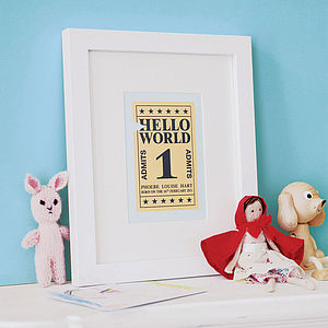 Personalised 'Hello World' Ticket Art Print - baby's room