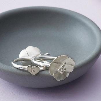 Personalised Hidden Heart Flower Ring
