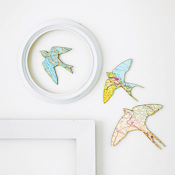 Set Of Three Flying Birds