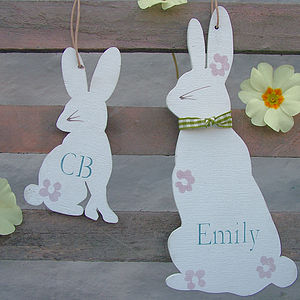 Personalised Mum And Baby Bunnies - easter decorations