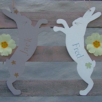 Personalised Boxing Hares Decoration