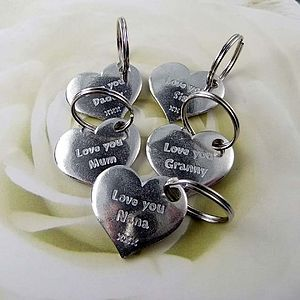 'Love You' Family Pocket Heart Token/Key Ring - women's accessories