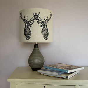 Stag Duo Handmade Lampshade - office & study