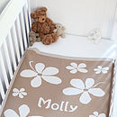Personalised girls cashmere blanket camel and white