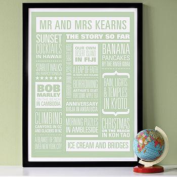 Personalised Memories Print: white on green