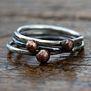 Handmade Rustic Silver and Copper stacking rings