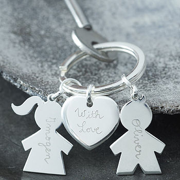 Personalised Sterling Silver People with Heart Key Ring