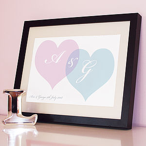 Personalised Heart Two Heart Print