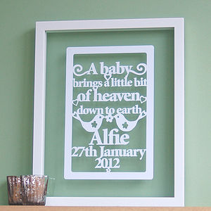 'A Little Bit Of Heaven' Papercut Art - gifts for babies