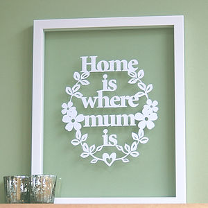 Papercut 'Home Is Where Mum Is' - mother's day gifts
