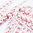 Red Heart Print Paper Party Straws