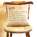 'Love' Definition Cushion Cover