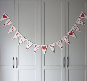 Bespoke Personalised Large Card Bunting - hen party styling