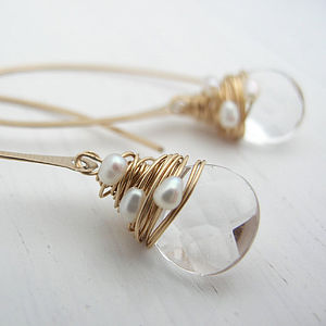 Crystal And Pearl Hoop Earrings - jewellery