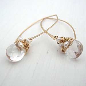 Crystal And Pearl Hoop Earrings - bridal-edit