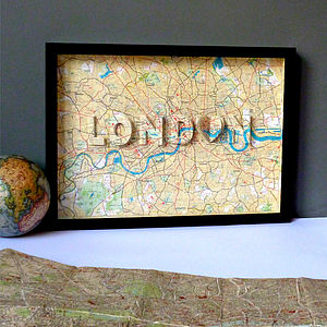 London Letter Map Artwork - mixed media & collage
