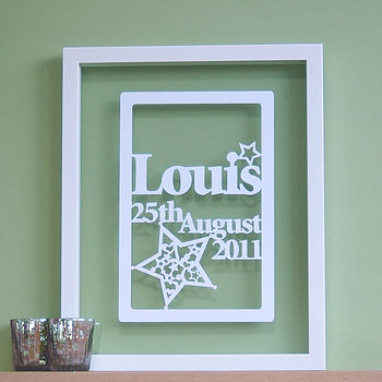 Personalised Baby Boy Or Girl Papercut Art