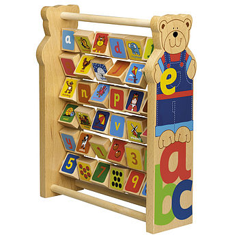 Wooden Teddy Alphabet And Number Frame