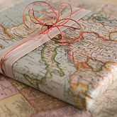 Vintage Inspired Map Wrapping Paper - cards