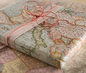 Vintage Inspired Map Wrapping Paper - ribbon & wrap