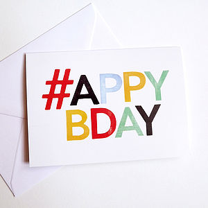 Happy Birthday Card 'Hashtag Card'