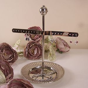 Two Arm Silver Earring Stand With Dish