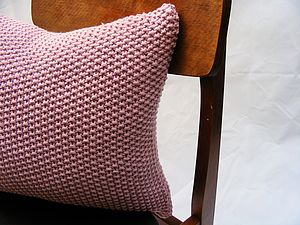 Moss Stitch Cushion Handknit In Rose Pink - living room