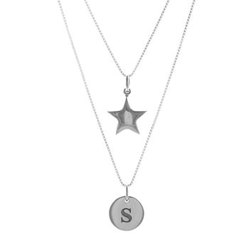 Double Strand Signature Pendant Star Necklace