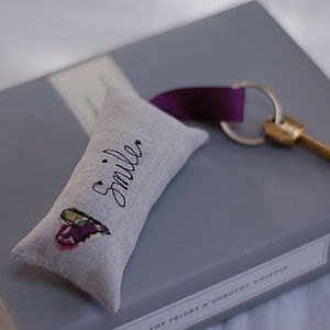 Handmade Linen Smile Key Ring - wedding favours