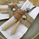 Set Of Four Sage Wool Napkin Rings
