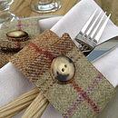 Set Of Four Sage Wool Napkin Rings