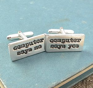 His Saying Personalised Silver Cufflinks - cufflinks
