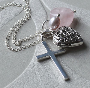 Silver Locket And Cross Charm Necklace - necklaces & pendants