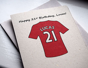 Personalised Football Shirt Card