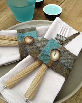 Set Of Four Turquoise Wool Napkin Rings