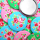 ''Roses'' Fabric Pocket Mirror