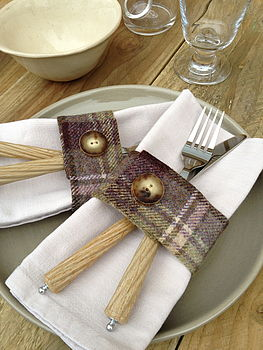 Set Of Four Heather Wool Napkin Rings