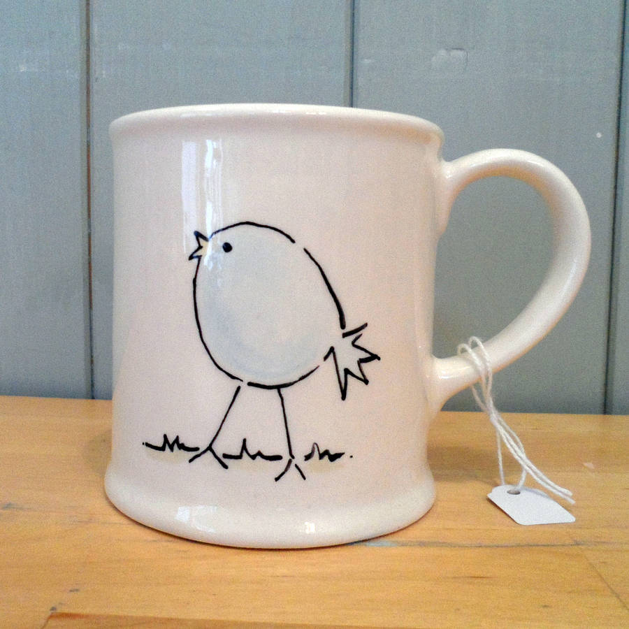 personalised hand painted ceramic bird mug by fired arts