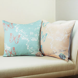 Butterfly And Roses Cushion - bedroom