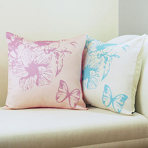 Butterfly Floral Cushion - bedroom